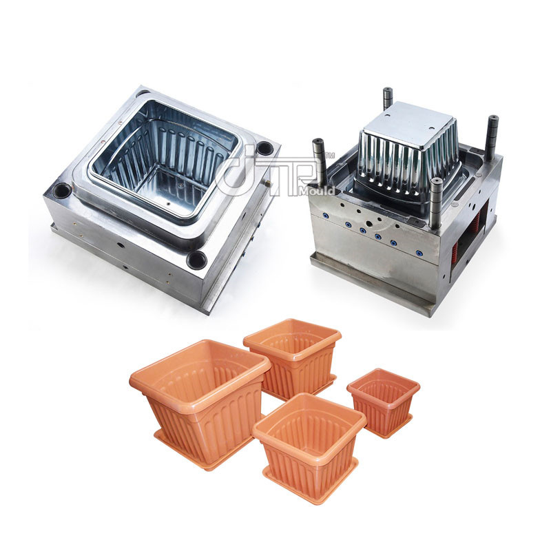 HDPE Material High Glossy Mould of Square Plastic Injection Flower Pot Mould(JTP-A0115)